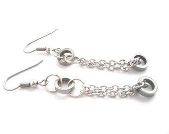 Dual roller and chain earrings