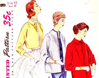 1950s Bust 30 Misses Jacket Evening Topper Bolero Coat Vintage Sewing Pattern Simplicity 1451 c 1956 50s
