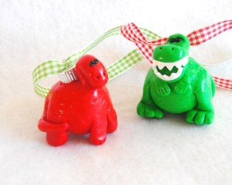 Christmas Ornaments Dinos handmade polymer clay glass covered holiday ornaments  ( 2 )