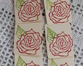 Red Rose Gift Tags -  Hand Stamped Set of Six, from Original Hand Carved Stamps