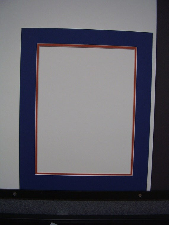 Picture Mat Double Blue With Orange Colors 16x20 Mat For