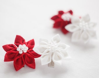 Hair clips - Girl hair red clips - Toddler girl gift set of 4 linen hair clips in white and red  - Christmas hair accesories