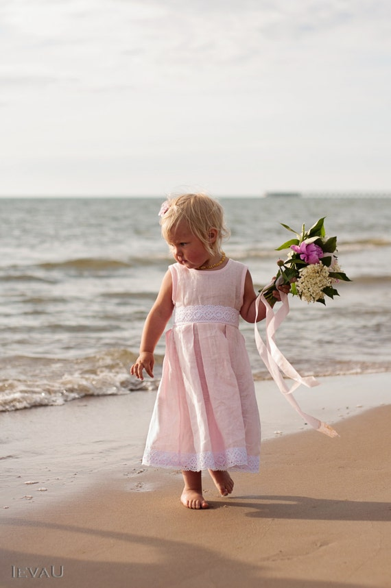 Pink flower girl dress beach weddings flower girl by for Beach wedding flower girl dresses