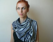 Zebra print wrap shawl/ scarf/ white and blue soft scarf/ nautical look