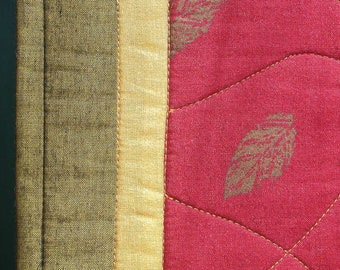 QUILTED AUTUMN TABLERUNNER  Shimmering Red Gold Green 15 in x 47 in.