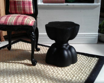 Black hourglass stool or side table - Dollhouse Size