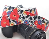 Nikon Camera Strap Red, Blue Tropical Floral Cyber Monday