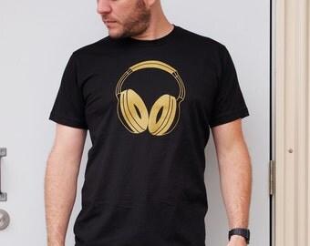 Gold Headphones men's black t-shirt XL dj shirt music rave clothing