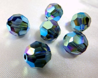 2 Montana AB 2X 10mm Swarovski 5000 Round Jewelry Beads