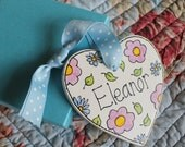 Personalised Floral Heart Pink Blue Hand painted Wedding favour Gift