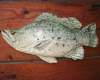 """Crappie 17"""" chainsaw wooden Ocean Arts carvings freshwater chainsaw art fish lake lodge sculpture indoor or outdoor home decor wall mount"""