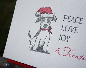 Dog Holiday Card 6 pack, letterpress printed, jack russell - Boxed Set