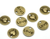 10 Love Charms Antique Bronze Tone 2 Sided - BC392