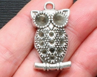 5 Owl Charms Antique  Silver Tone Larger Sizes - SC1498