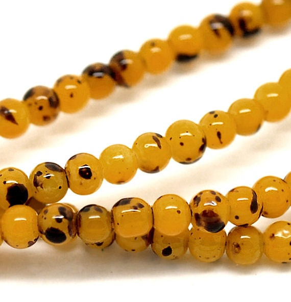 50 Mottled Glass Beads 4mm Harvest Yellow and Coffee - Perfect for Fall BD97