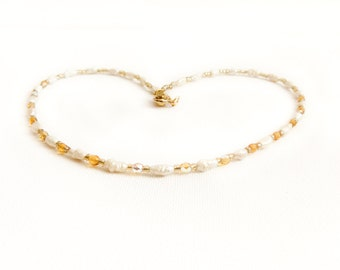 Natural freshwater pearl necklace white golden  necklace  - Beaded June birthstone jewelry.