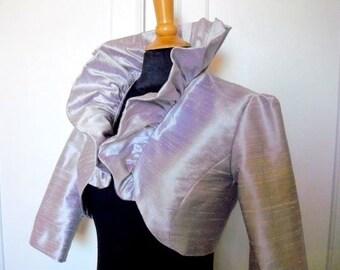 Bolero Silk Dupioni Ruffled  silver Gray,black,ivory or white