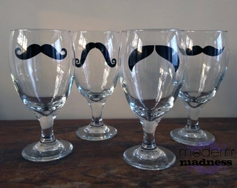 Moustache Water Glasses - (set of 4)