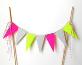 Cake Bunting, Neon Triangle Pennants - Spring Wedding, Summer, Bright, Colorful, Pink, Green, Yellow, Gray, Grey, Decoration, Dessert, Paper