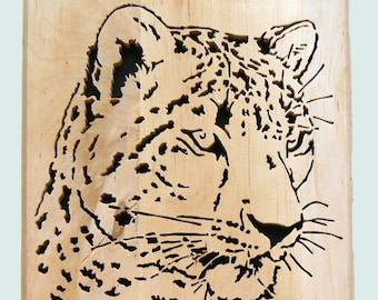 Leopard Wood Portrait Wall Plaque