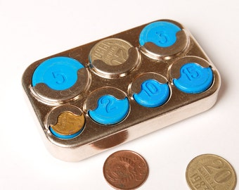 Vintage metal coin holder from Soviet Union, USSR.