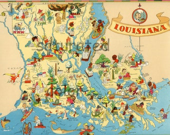Louisiana Map ORIGINAL Vintage 1930s Antique Picture Map - Ruth Taylor White - New Orleans Baton Rouge Shreveport Natchitoches Souvenir