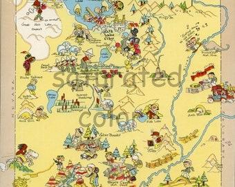 Utah Map ORIGINAL 9 X 13 Vintage 1930s Antique Picture Map - Ruth Taylor White - Salt Lake City - Zion National Park - Bryce Canyon Souveni