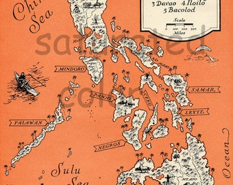 Philippine Islands - High Res DIGITAL IMAGE 1940 Vintage Picture Map - Tangerine Tango - Retro Orange Map - Sailing Sailboat Charming & Fun