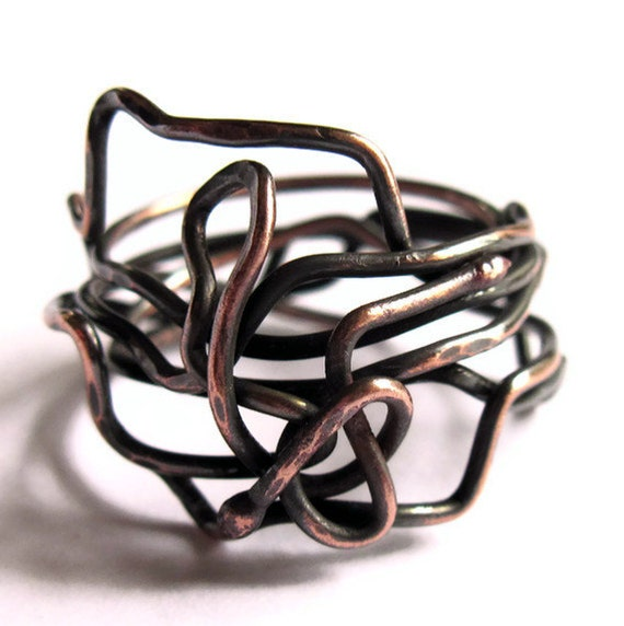 Twisted Wire Ring Copper Snake Unisex Jewelry