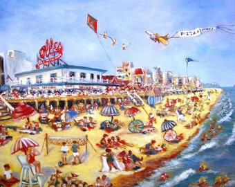 """Delaware Folk Art by N Taylor Collins featuring Rehoboth Beach Large Limited Edition Print - l""""Nor'Easter Wake"""" with Dolle's on Boardwalk"""