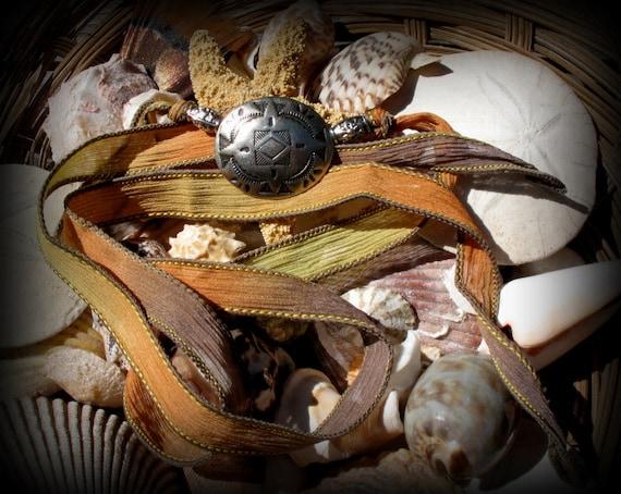 SALE! 25% OFF! Wrapped Ribbon Bracelet, Silk, Desert Tones, Tribal, Southwest, Antique Silver, Conch, FishBaySunsets