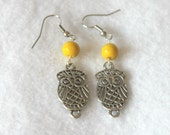 Silver Owl Earrings with Yellow Bead