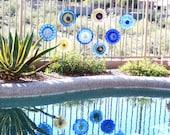 Garden Art Cobalt Blue Glass Plate Flower Yard Stake Repurposed Upcyled DANA
