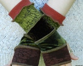 Arm warmers - Fingerless and texting gloves - made from recycled sweaters velvet and lace