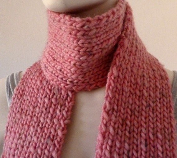 Womens Long Chunky Scarf - Pink scarf, long pink scarf, wool scarf