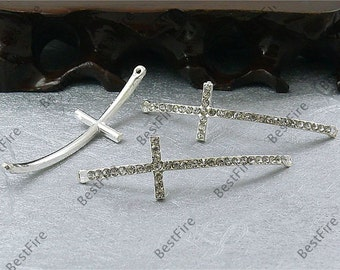2pcs of 15x54mm silver tone Rhinestone Cross Connector,Cross Bracelet Connector,bangle findings