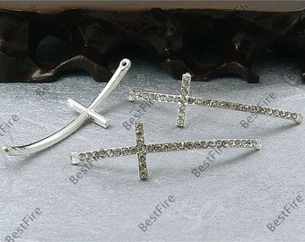 5pcs of 15x54mm silver tone Rhinestone Cross Connector,Cross Bracelet Connector,bangle findings