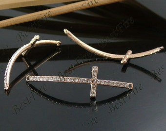 2pcs of 15x54mm Rose Gold  tone Rhinestone Cross Connector,Cross Bracelet Connector,bangle findings