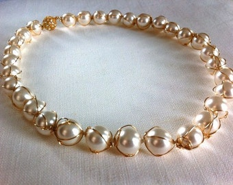 Swarovski pearl necklace wrapped in 14K gold filled wire