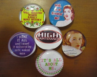 DOMESTiCALLY DiSABLED HiGH MAiNTENANCE HOUSEWiFE GLASS MAGNETS