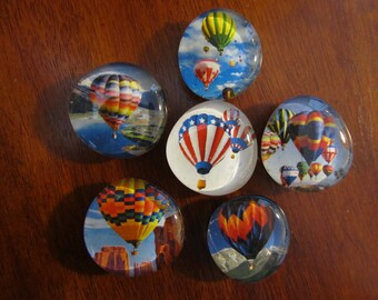 HOT AIR BALLOON Glass Bubble Magnets Up Up and Away