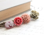 Floral Hair Accessories, Sage Green, Dusty Rose Pink, Maroon Flower Bobby Pins, Hair Flowers, Hair Clips, Cameo Hair Pin - Set of Four (4)