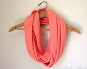 Coral Extra-Soft Jersey Infinity Scarf //  Ready to Ship