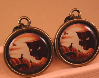 Halloween Jewelry Halloween Earrings Cat Earrings Pumpkin Earrings Pumpkin Jewelry Brass Jewelry Holiday Jewelry Beaded Jewelry