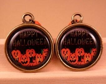 Halloween Jewelry Halloween Earrings Pumpkin Earrings Pumpkin Jewelry Brass Jewelry Holiday Jewelry Beaded Jewelry