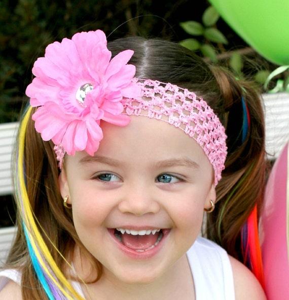 Pink Flower Headband - Hair Bow - Baby Headband - Toddler Headband