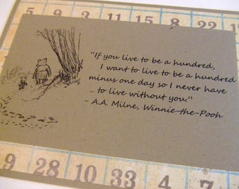 Live To Be A Hundred - Winnie the Pooh Quote - Classic Piglet and Pooh Note Card Vintage Numbers Border
