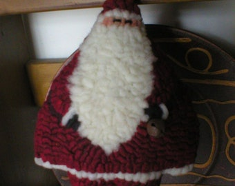 PrimiTive Folkart Roly Poly Hooked Rug Santa PDF PATTERN   LJO Collection Hooked Rug Patterns
