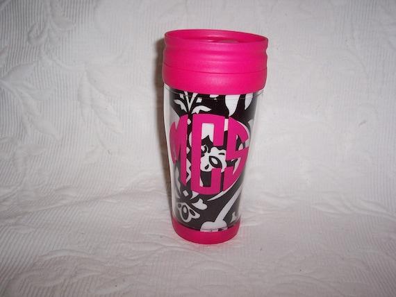 Monogrammed Insulated Travel Mug Damask & Hot Pink
