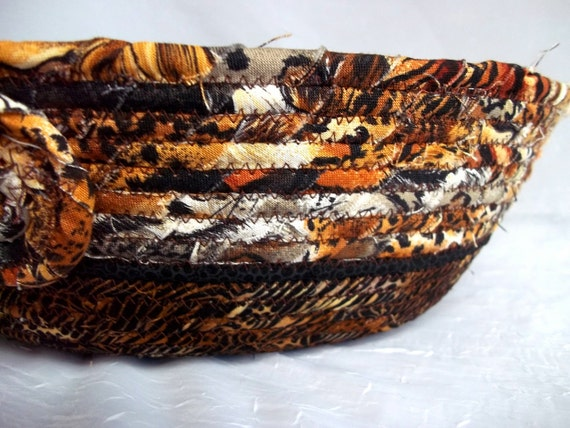 Tiger Brown Basket, Handmade Napkin Basket, Animal Brown Fruit Bowl, hand wrapped and coiled fabric